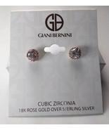 Giani Bernini 18K Rose Gold over Sterling Silver Crystal Halo Earrings -... - $34.65