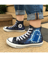Police Box Galaxy Converse All Star Women Men Sneakers Hand Painted Shoe... - $145.00