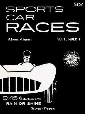 Primary image for 1957 SCCA Sports Car Races - Akron Airport - Promotional Advertising Poster