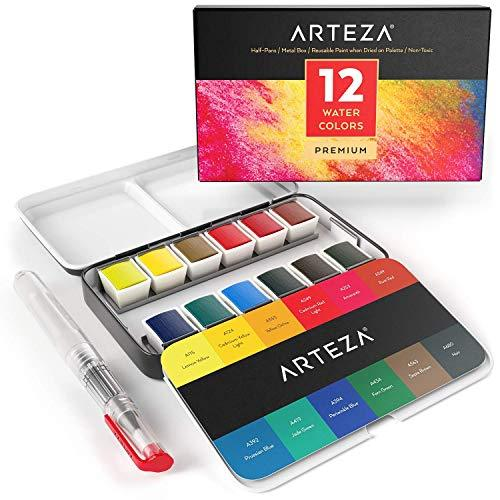 ARTEZA Watercolor Paint, Set of 12 Assorted Vibrant Colors in Half Pans in Tin B