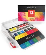 ARTEZA Watercolor Paint, Set of 12 Assorted Vibrant Colors in Half Pans ... - $16.88