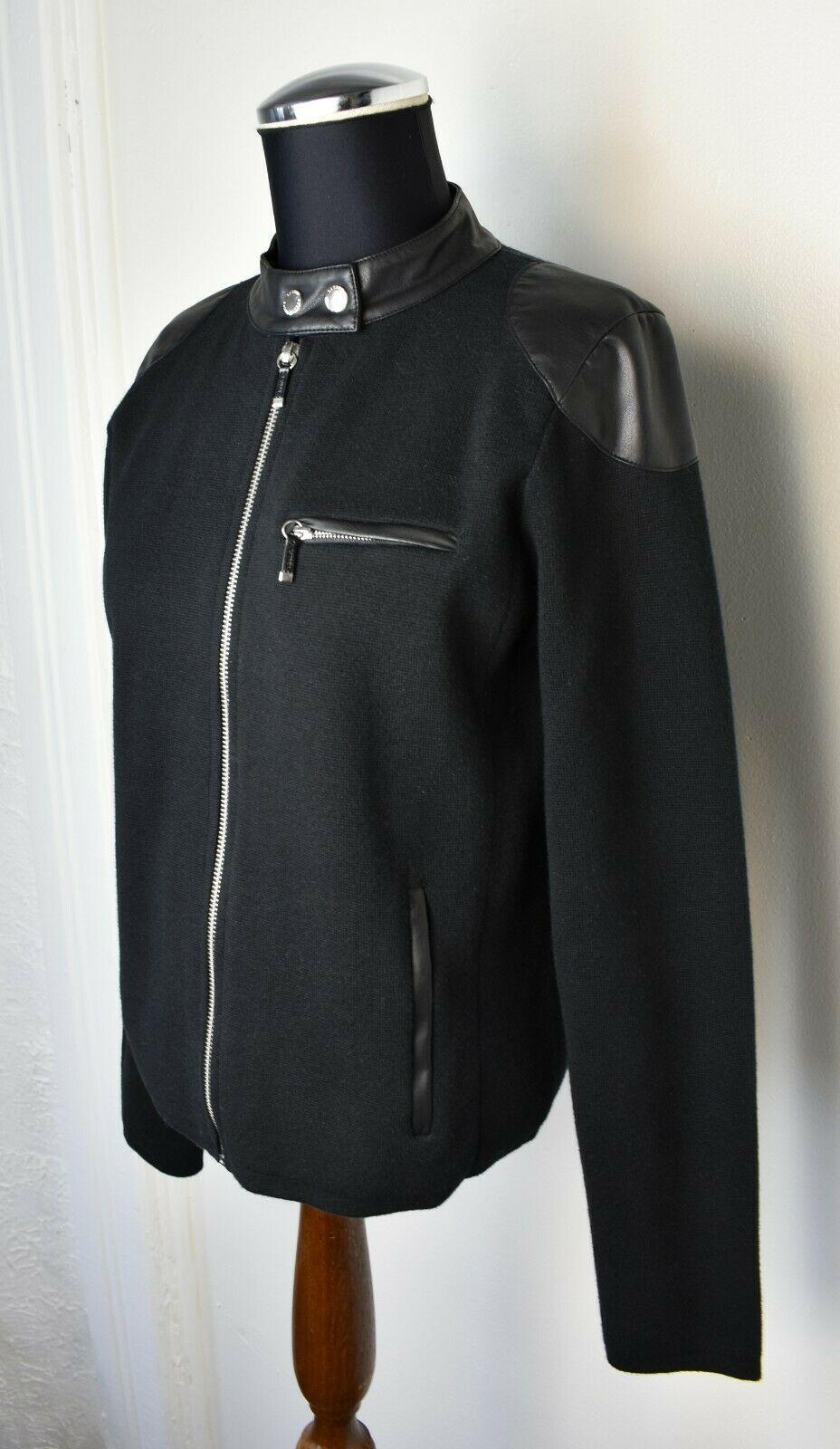 Ralph Lauren Black Faux Leather Trim Zip Front Motorcycle Jacket - Women's P/M - $37.95