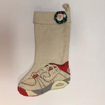 Handmade Christmas Stocking Hand Painted Tennis Shoe on Heavy Natural Mu... - $14.78