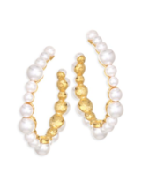 Kenneth Jay Lane KJL Gold Tone White Faux pearl Classic Hoop  Earrings M... - $98.01