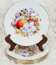 6X DUCHESS DESSERT PLATE Fine Bone China England Fruit Berries Floral Go... - $77.22