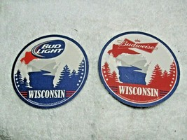Pair Of Collectible BUDWEISER-BUD LIGHT-WISCONSIN Cardboard Beer Coasters-Home!! - $8.95