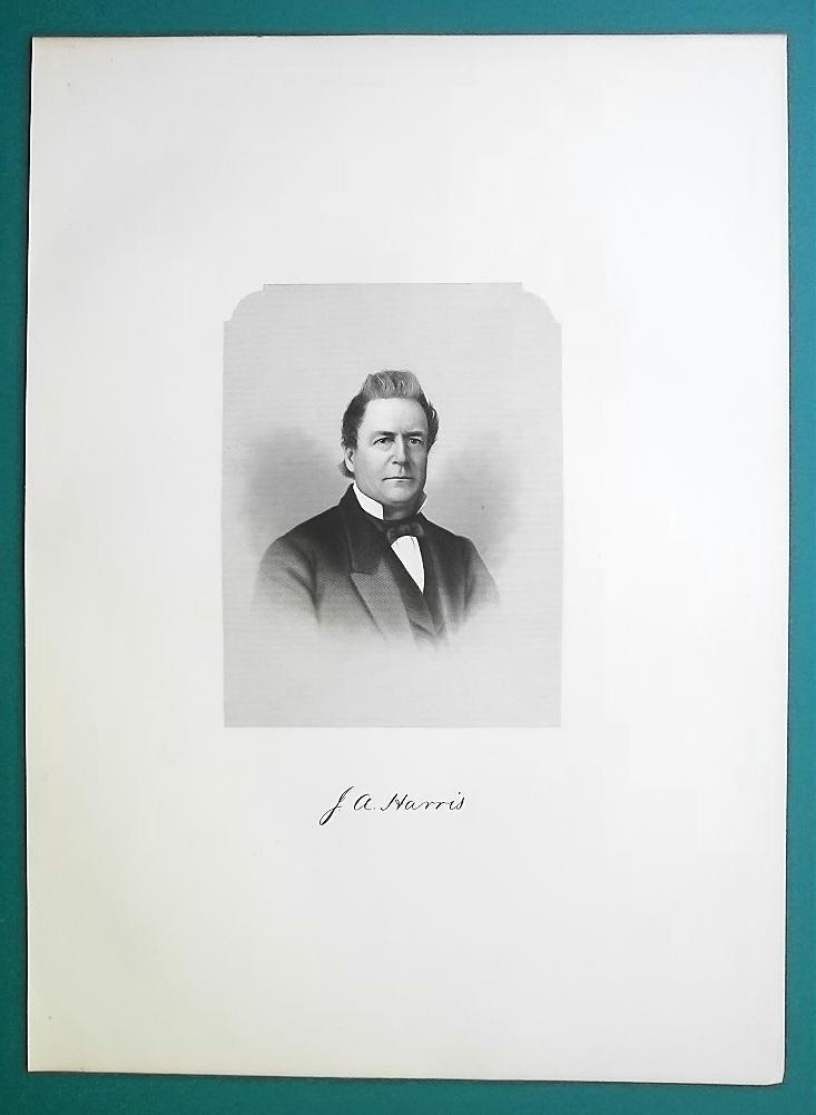 JOSIAH HARRIS Massachusetts Born Journalist & Businessman - 1881 Portrait Print