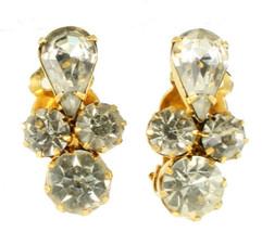 "Vintage Juliania D&E Tara Beautiful Clear Rhinestone clip earrings 1"" - $36.00"