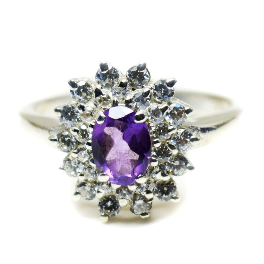 Primary image for Natural 925 Sterling Silver Oval Cut Amethyst Ring Women Handcrafted Sizes 4-12