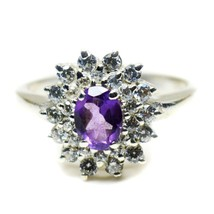 Natural 925 Sterling Silver Oval Cut Amethyst Ring Women Handcrafted Siz... - £18.78 GBP