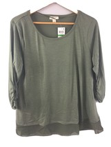 Style & Co Top L Large Olive Green Flowy Blouse Shirt Ruched Sleeve NWT LL4 - $11.77