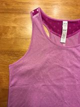 NWT Under Armour Girl's Purple Striped Heatgear Loose Tank Top - Size: Large image 4