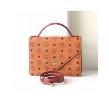 MCM Visetos Cognac Tote Shoulder Crossbody Handbag Authentic Vintage Mon... - $500.00