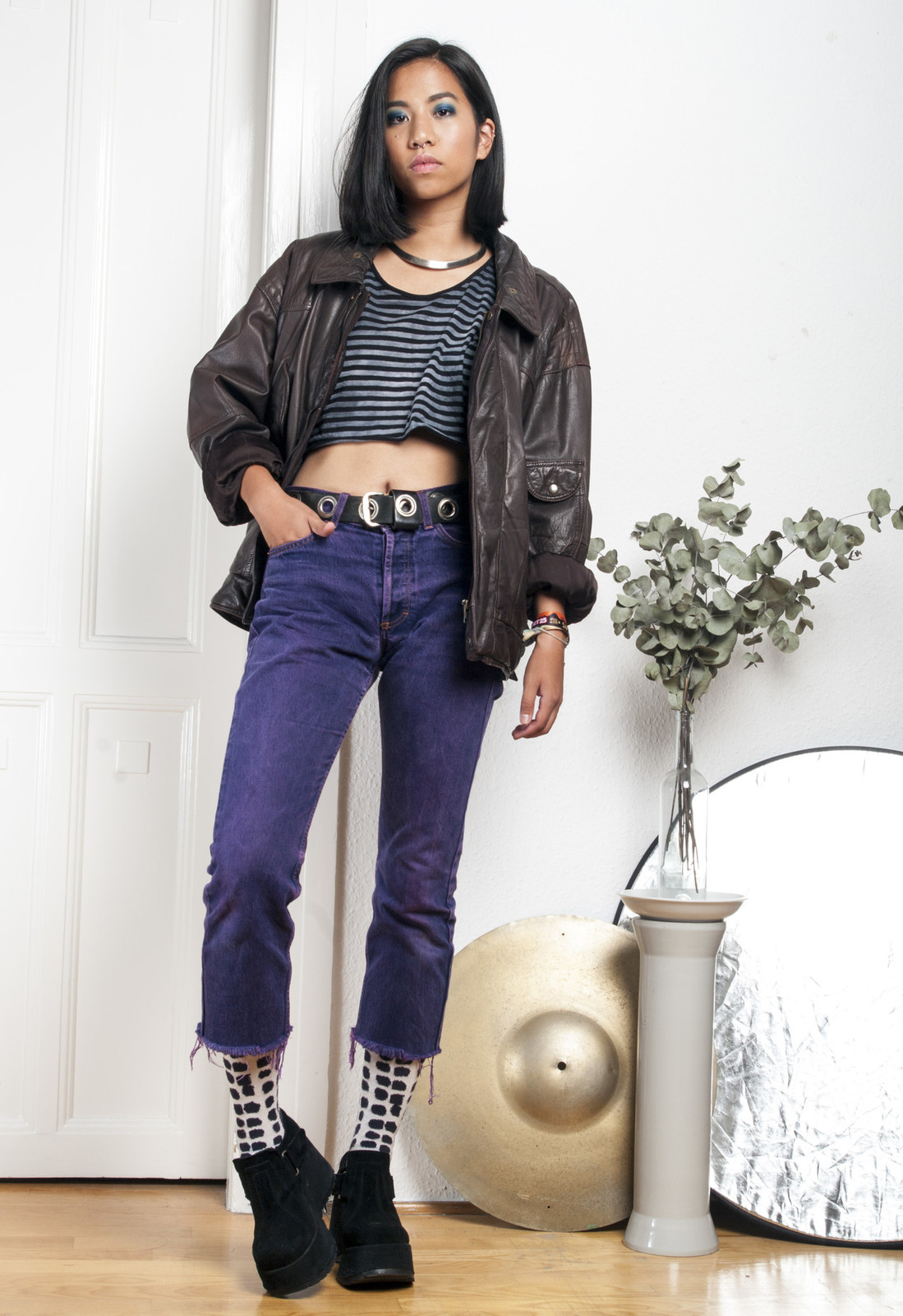 80s vintage leather pilot jacket