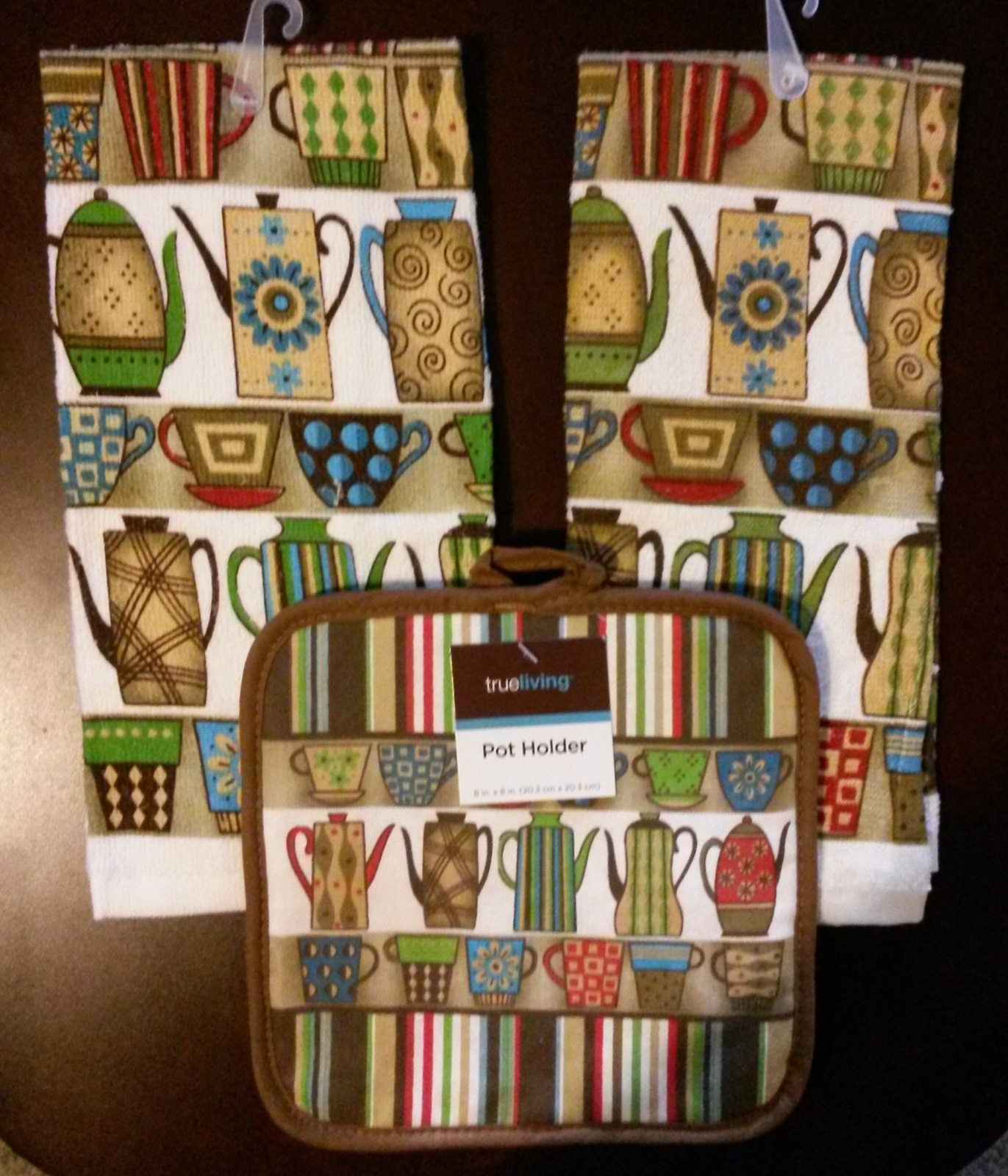 Primary image for COFFEE KITCHEN SET 3pc Towels Potholder Colorful Cups Pots Stripes Brown NEW