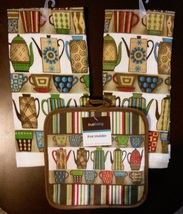 COFFEE KITCHEN SET 3pc Towels Potholder Colorful Cups Pots Stripes Brown... - $9.99