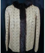 1950 Brocade Jacket Gold Pink With Mink Trim Modes Calbari 46 Italy 8/10... - $173.25