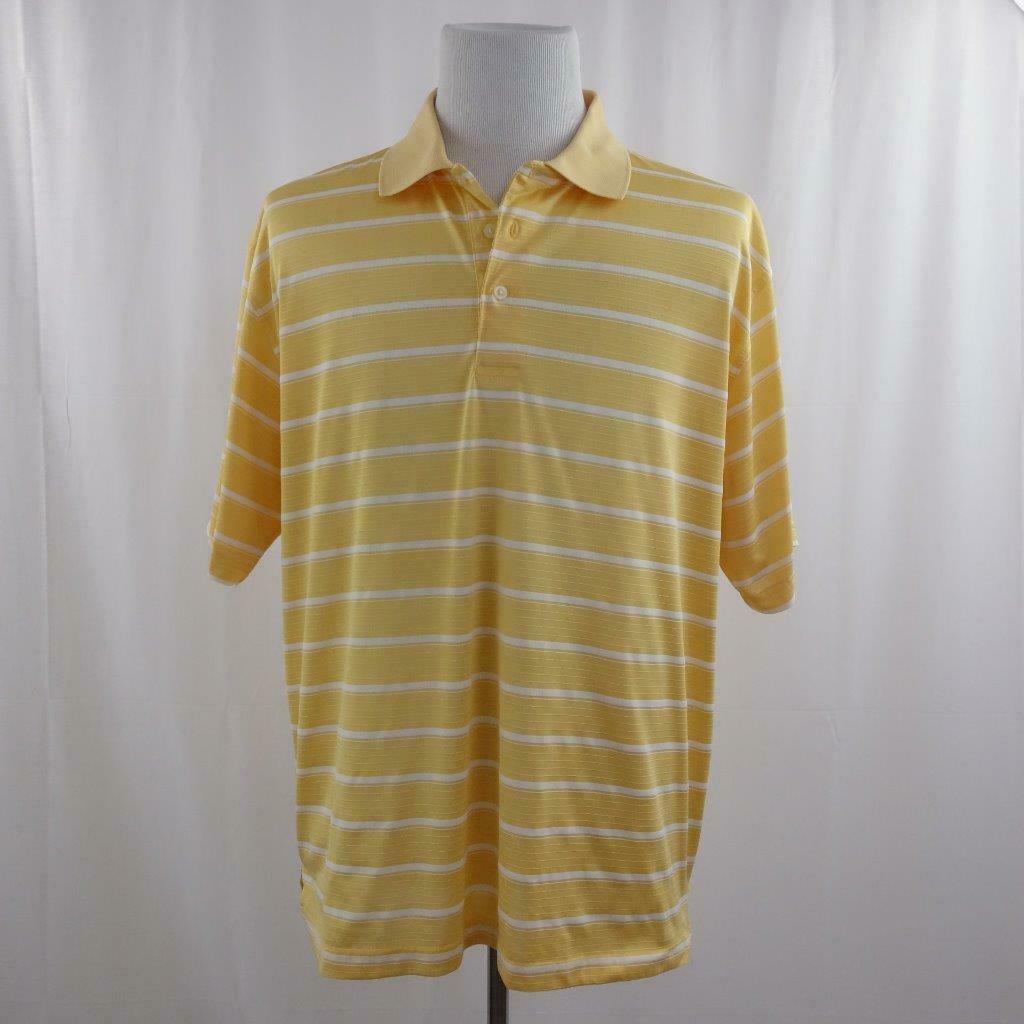 Primary image for Pro Player Yellow and White Striped Golf Shirt Mens Sz XL