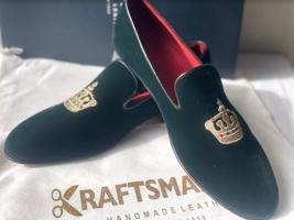 Handmade Men's Green Velvet Embroidered Slip Ons Loafer Shoes image 3