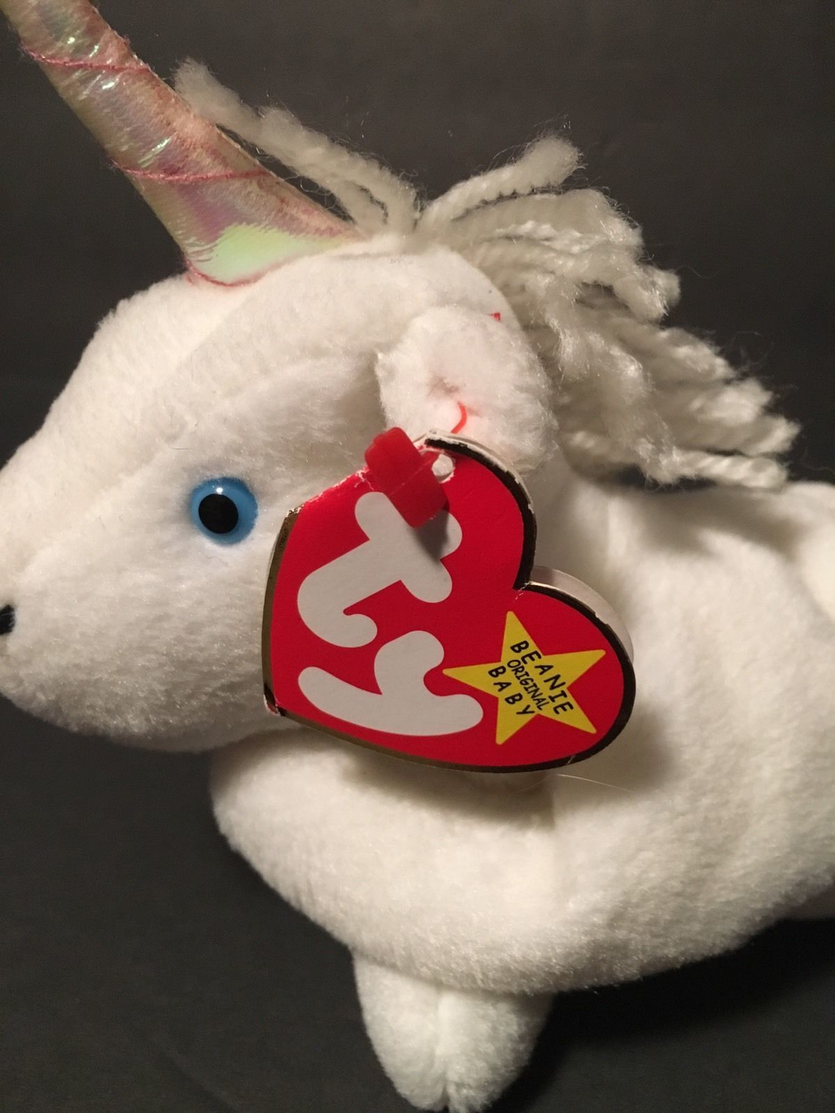 Ty Beanie Babies Plush Beanbag Mystic the Unicorn White Blue Eyes PVC