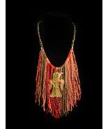 Exotic Goddess fringe necklace - Egyptian beaded tassel jewelry - tribal... - $145.00