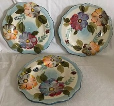 3 Gibson Elite Handpainted Dessert China Salad Plates Floral Scalloped Edge - $29.69