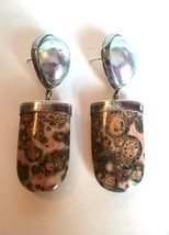 STERLING SILVER ARTISAN STUDIO SIGNED BAROQUE PEARL FOSSIL STONE EARRINGS - $375.00