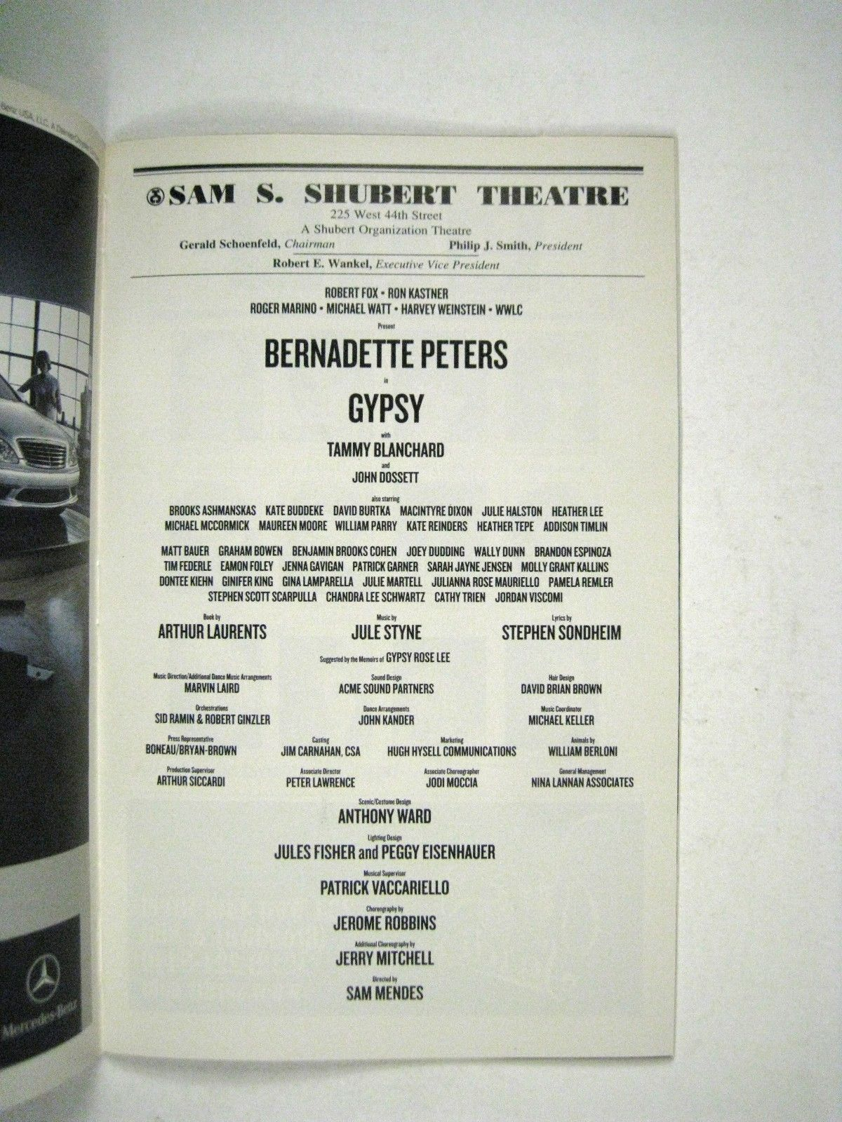 Gypsy Playbill 2003 Sam Schubert Theatre Bernadette Peters Tony Blanchard Ticket