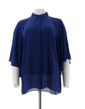 Joan Rivers Womens Silky Blouse Half Flutter Sleeves Cobalt Blue XL NEW ... - $39.58