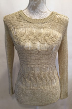 Anthropologie Staring At Stars Crochet Open Knit Front Ivory Floral Back... - $24.99