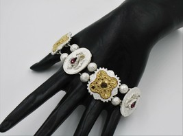 1928 Silver Gold Tone Charm Amethyst Purple Rhinestone Link Bracelet - $9.89