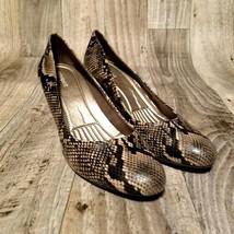 Easy Spirit Womens Redefine  Sz 10 Black Snakeskin Print High Heel Pumps Shoes - $24.99