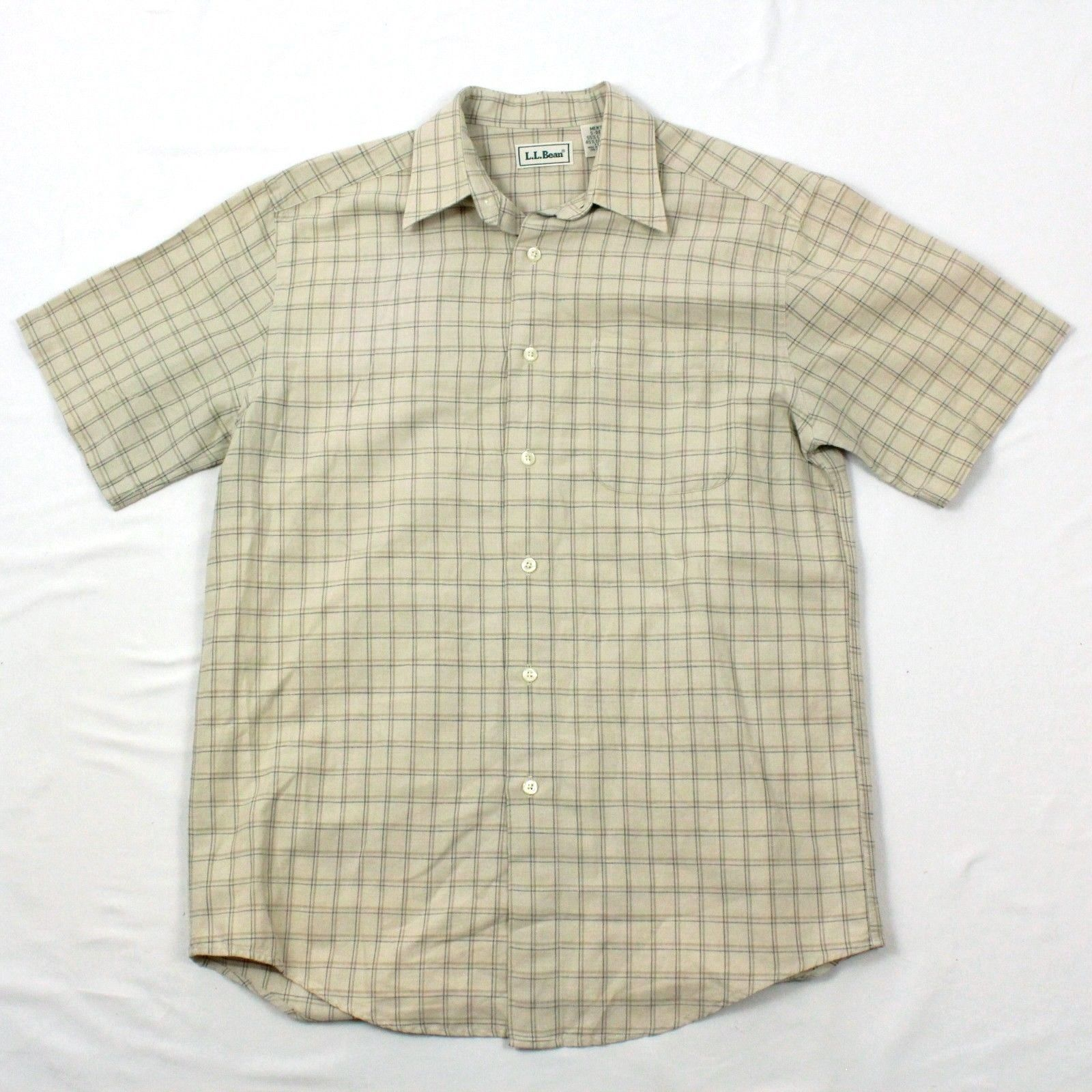 Ll Bean Mens Linen Button Up Shirt Earth Tone Khaki Plaid