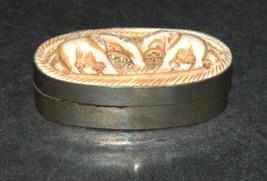 Vintage Small Trinket Box Carved Elephants Lid image 2