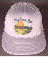 Vtg Michigan Hill Hat-Gray-Rope Bill-Trucker-Snapback-Lake Sunset Sunrise  - $23.36