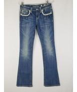 Miss Me Damen 27 Bootcut-Jeans Dick Nähte Leder auf der Rückseite Klapptaschen - $49.50
