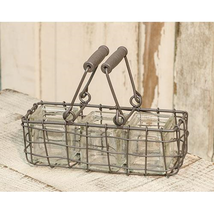 Rectangle Wire Basket w/3 Mini Herb Planters Spring - $19.79