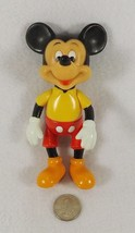 Vintage Jointed Mickey Mouse Doll Plastic Rubber Walt Disney Hong Kong 5... - $19.95