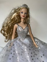 2001 Holiday Celebration Barbie Doll Mattel Blonde White Gown Silver Stars Crown - $27.00