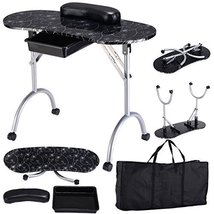 Manicure Nail Table Portable Station Desk Spa Beauty Salon Equipment (Bl... - $80.44