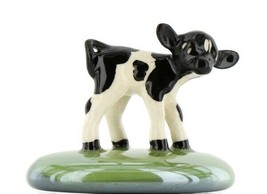 Stepping Stones Fairy Garden Terrarium Miniature Calf Baby Cow on Turf Green