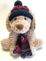 "Tan Curly Dog HAT & SCARF 12"" Plush stuffed animal Gentle Treasures St Jude - $18.80"
