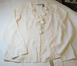 Liz Claiborne Collection Womens Long Sleeve Button Up Silk Shirt 12 Off White - $37.41