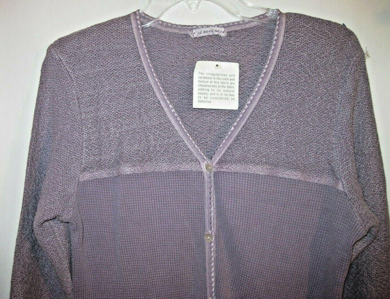 Lee E.D. Purple Lavender Long Dress U.S.A. Cotton Knit Two Tone LS Misses L NWT