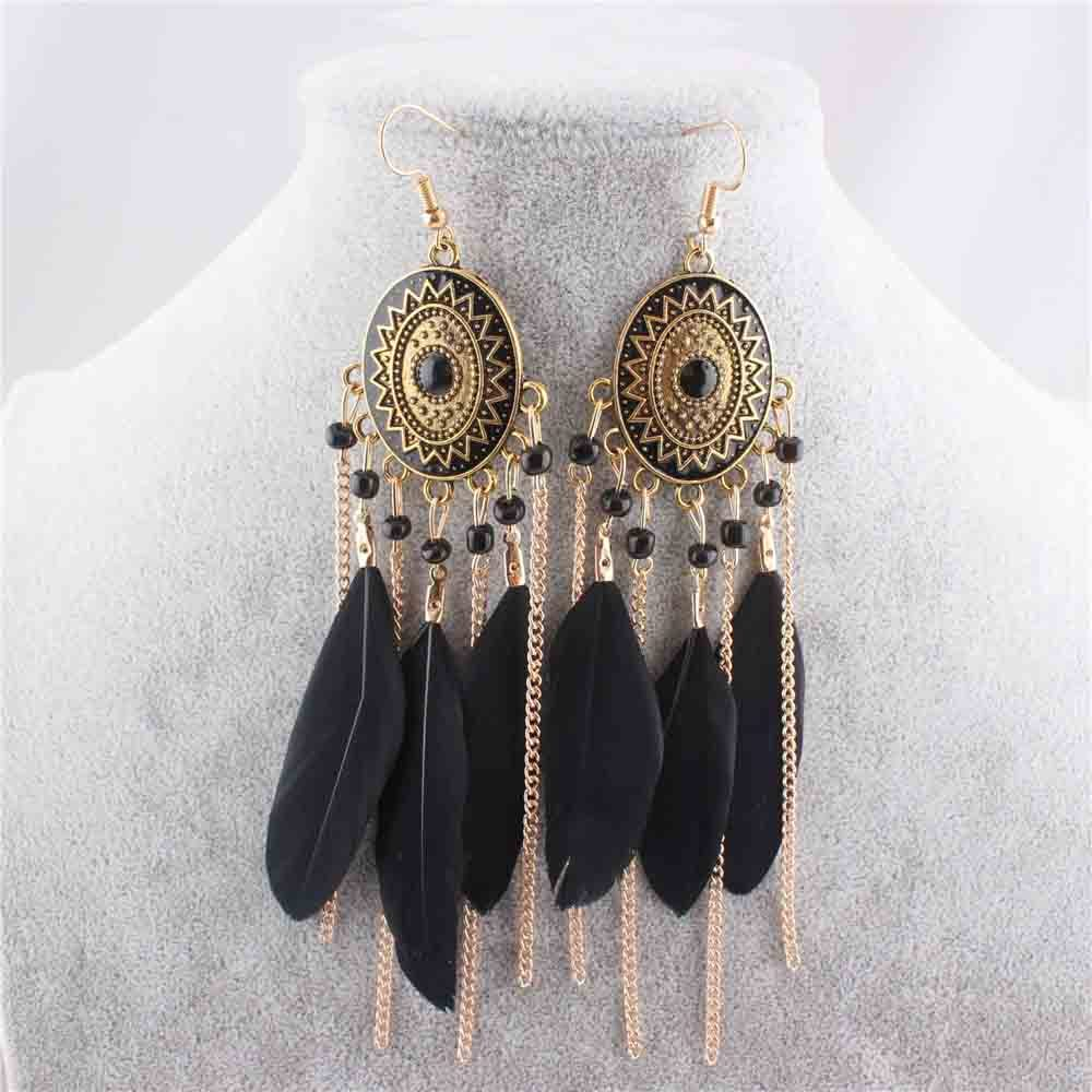 European and american tassel earrings feather leaf drop earrings for women chain dangle earrings
