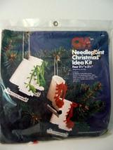 Vintage Christmas Needlepoint Ornament Kit Ice Skates Columbia-Minerva  ... - $16.90