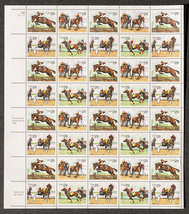 Horse Racing, Sheet of 29 cent stamps, 40 stamps total - $13.50