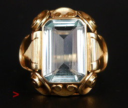 Antique German Ring solid 14K Gold 8ct Aquamarine Ø 6.5US / 4.6gr - $579.43