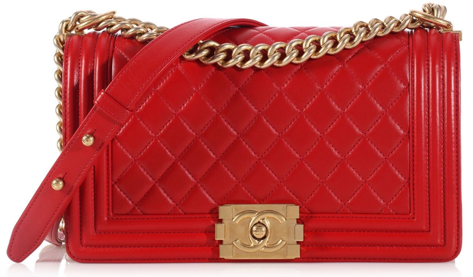 100% AUTHENTIC CHANEL RED QUILTED LAMBSKIN MEDIUM BOY FLAP BAG GHW