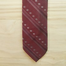 Vintage Wemlon II Wembley Neck Tie Burgundy Striped Preppy Skinny School... - $10.68